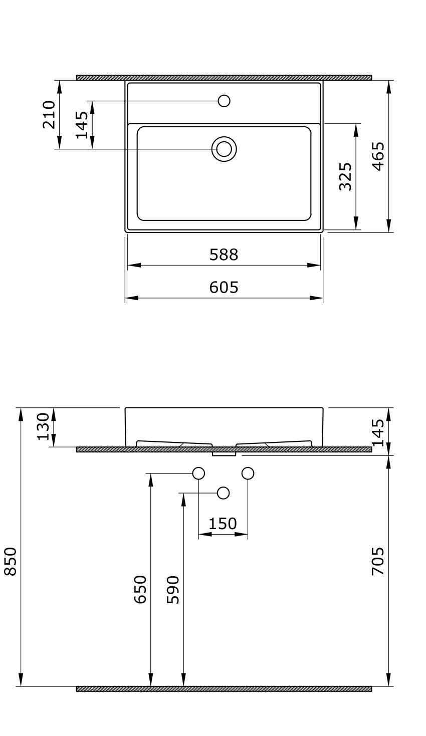 Umywalka meblowa/nablatowa/wisząca 60 cm Bocchi Milano rysunek