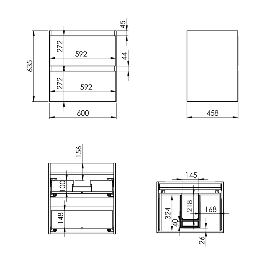 Szafka podumywalkowa 60 cm Elita Split 60 2S rysunek