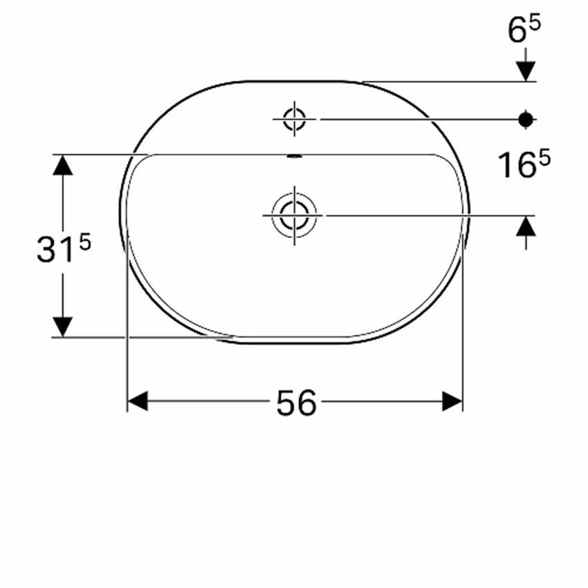 Umywalka eliptyczna wpuszczana w blat z przelewem i otworem 60 cm Koło VariForm rysunek techniczny