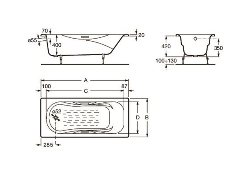 Prostokątna wanna żeliwna z powierzchnią antypoślizgową i uchwytami 150x75 cm Roca Malibu rysunek techniczny