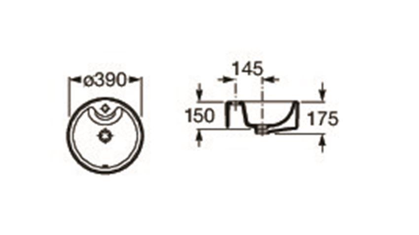 Umywalka nablatowa 39x39x15 cm Roca Terra rysunek techniczny