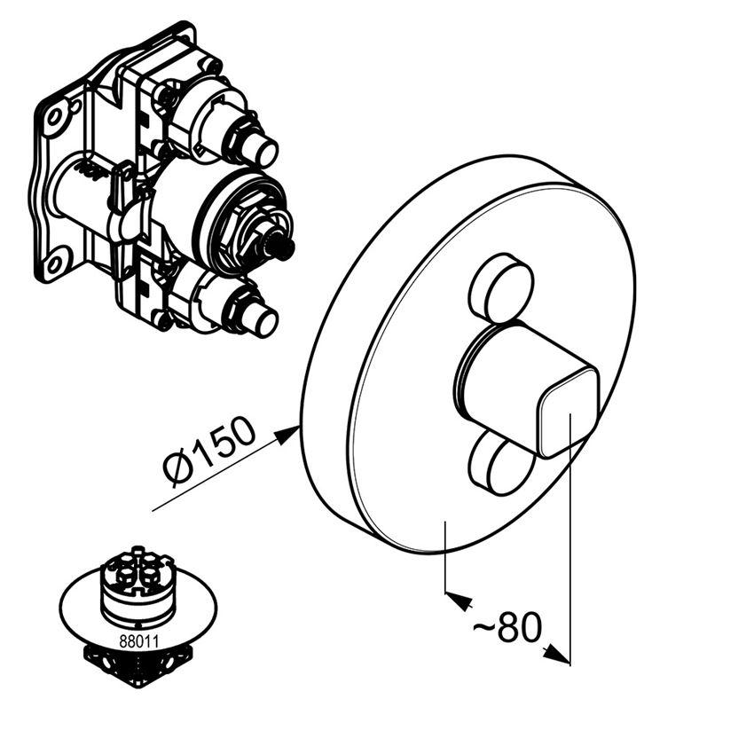 Podtynkowa bateria prysznicowa element zewnętrzny Kludi Push rysunek techniczny