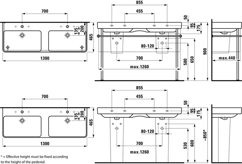 Umywalka podwójna 130 cm Laufen Pro S rysunek