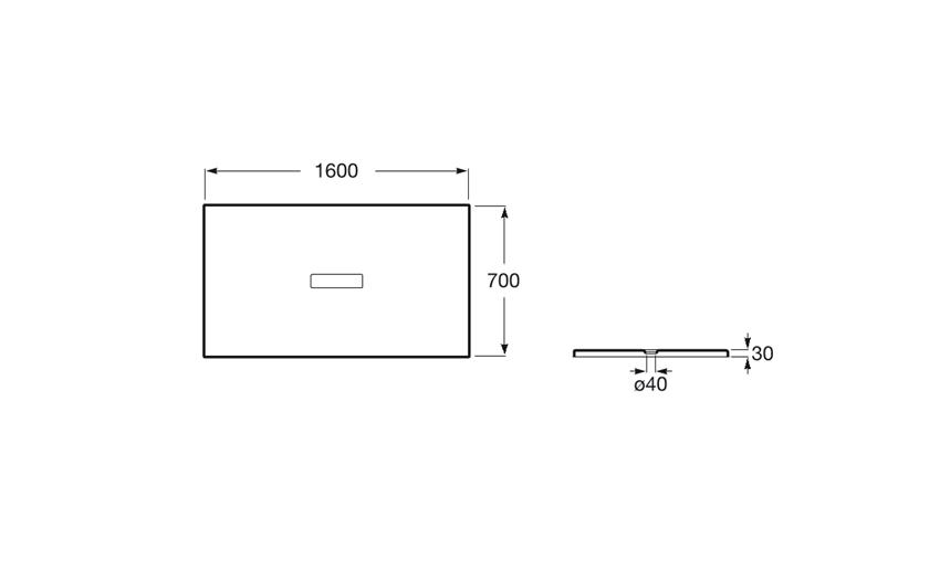 Brodzik prostokątny 160x70x3 cm Roca Helios rys.techniczny