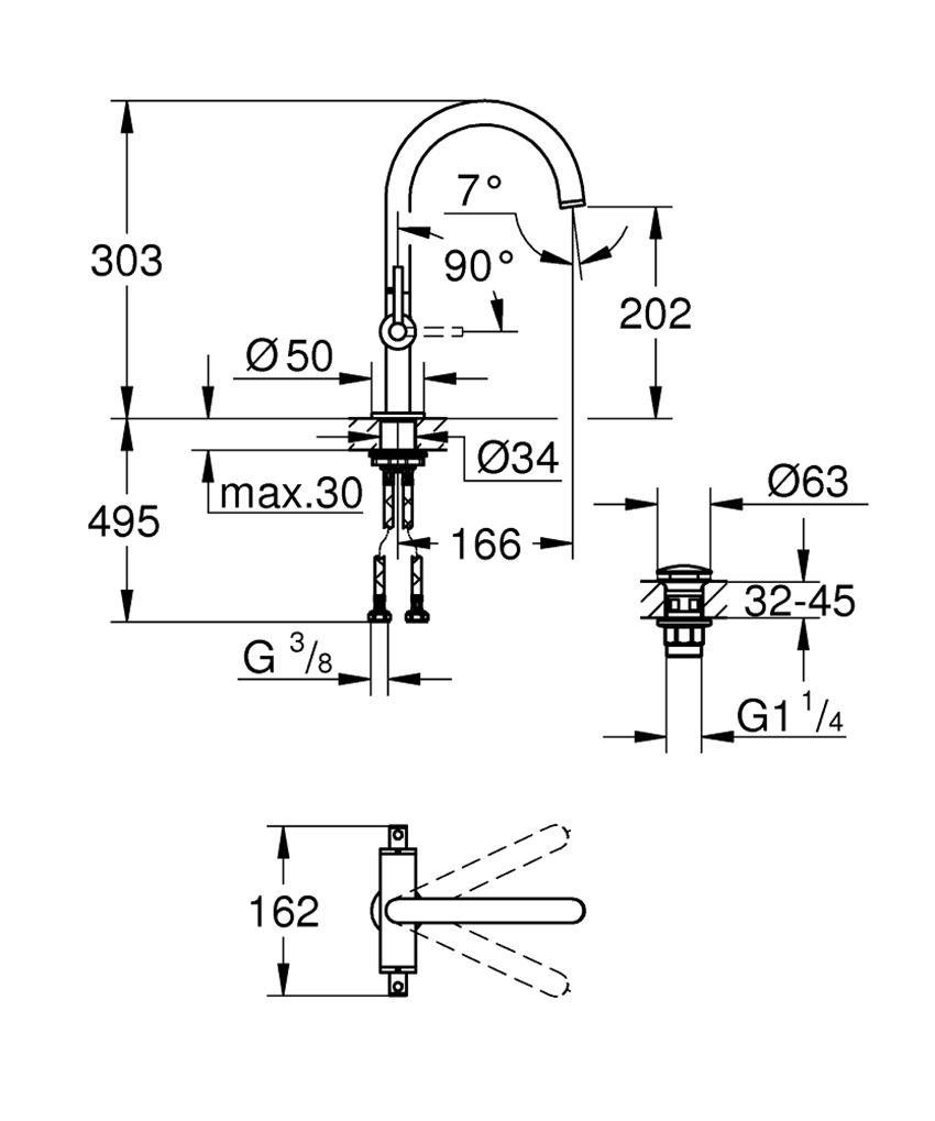 Bateria umywalkowa rozmiar L 30,3 cm Grohe Atrio rysunek techniczny