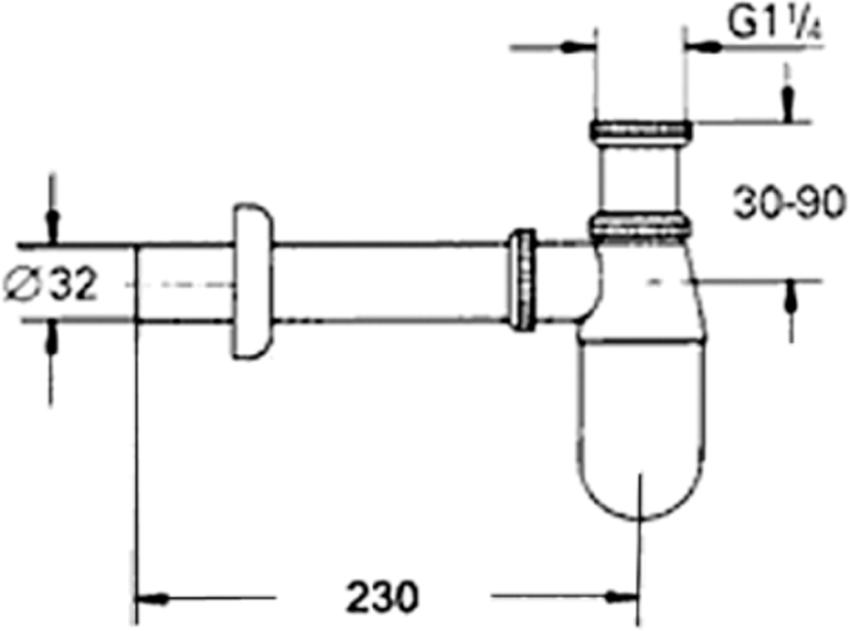 Syfon umywalkowy butelkowy KFA rysunek techniczny