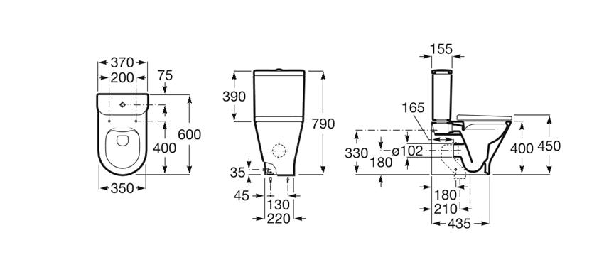 Miska WC Round o/podwójny do kompaktu Rimless 37x60x79 cm Roca Gap rysunek
