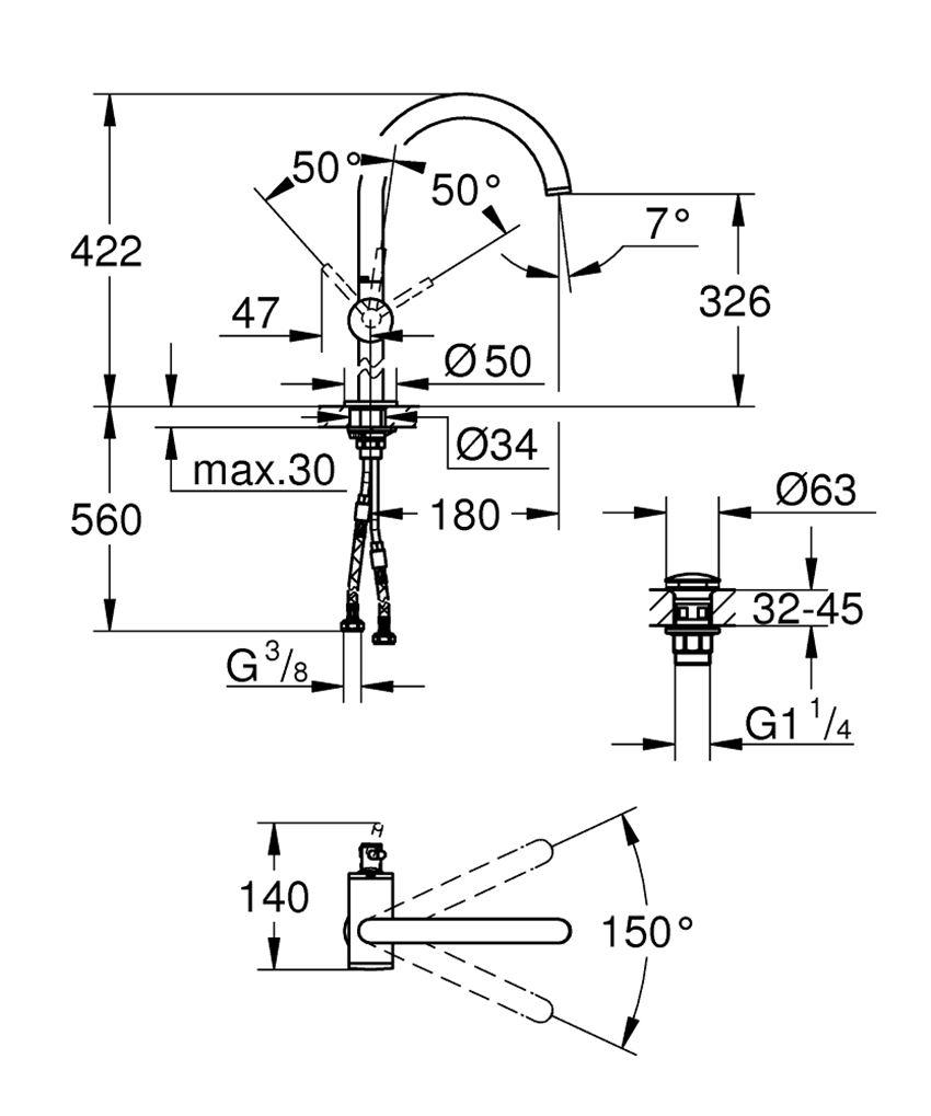 Bateria umywalkowa rozmiar XL 42,2 cm Grohe Atrio rysunek techniczny