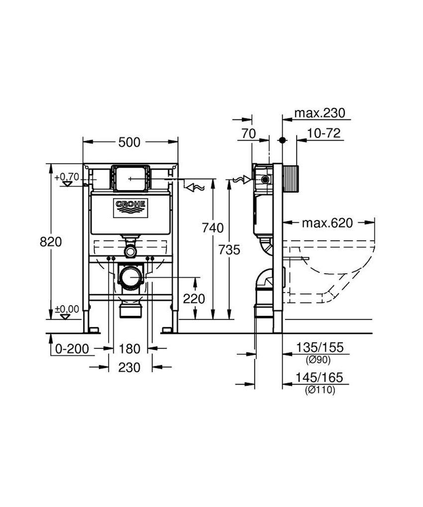 Zestaw instalacyjny 2 w 1 Grohe Rapid SL rysunek techniczny