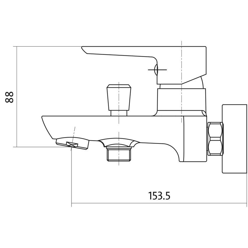 Jednouchwytowa bateria wannowo-prysznicowa Cersanit Mille rysunek