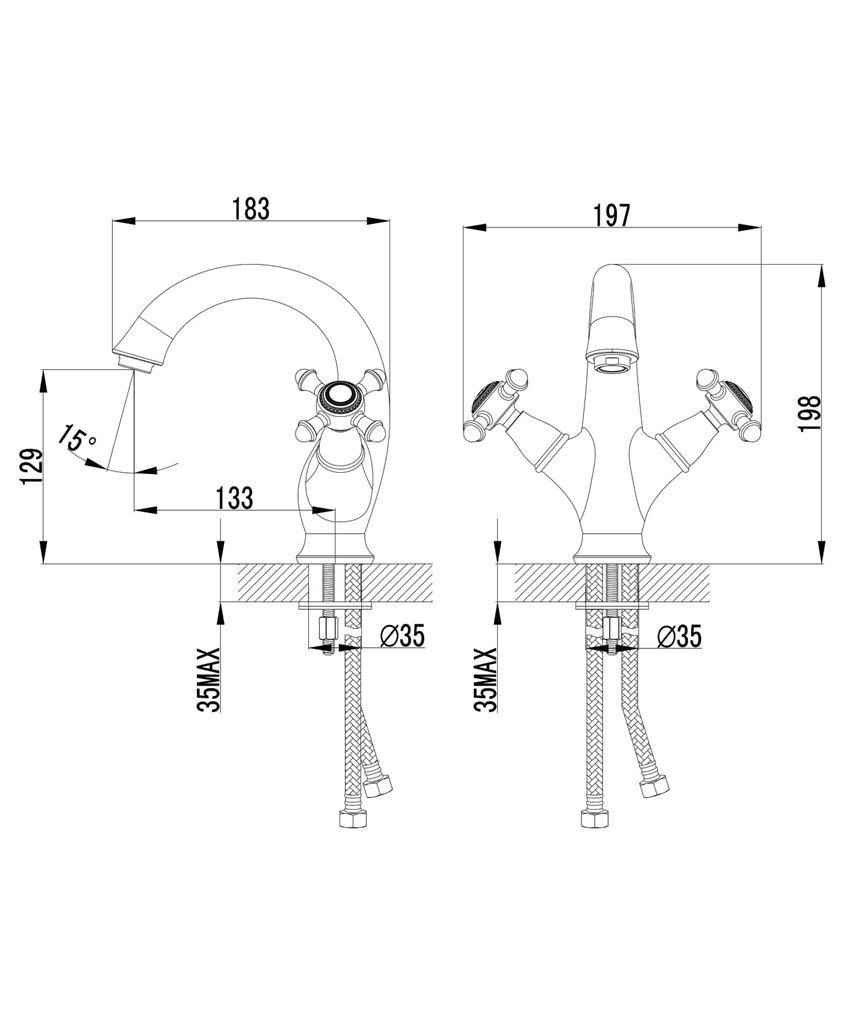 Bateria umywalkowa Omnires Retro rysunek techniczny