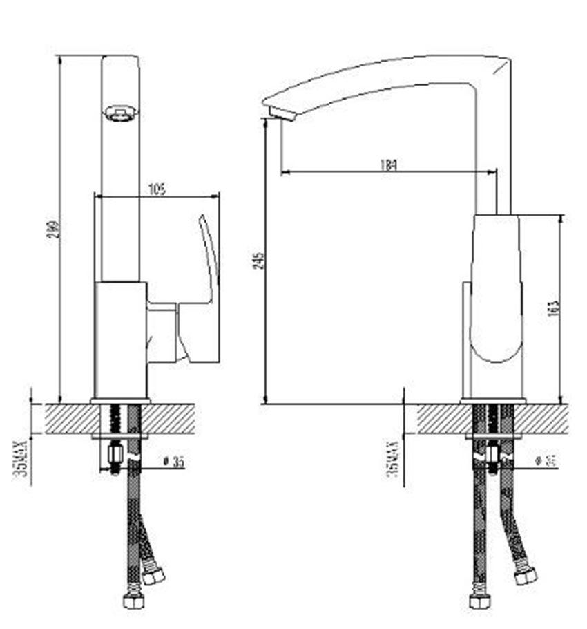 Bateria zlewozmywakowa Omnires Murray rysunek techniczny