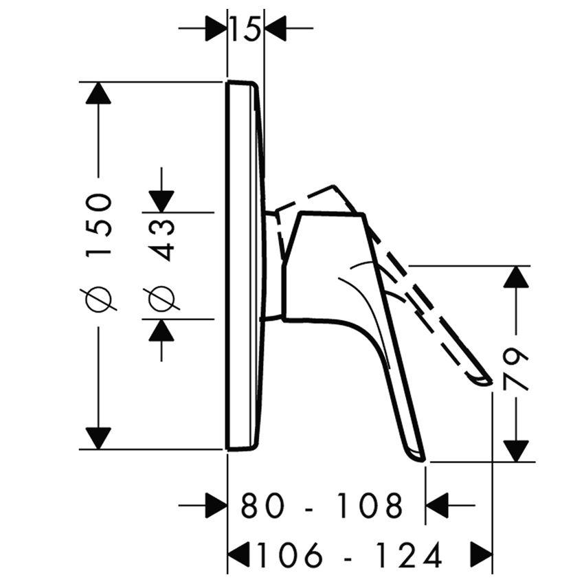 Jednouchwytowa bateria prysznicowa podtynkowa Hansgrohe Focus rysunek techniczny