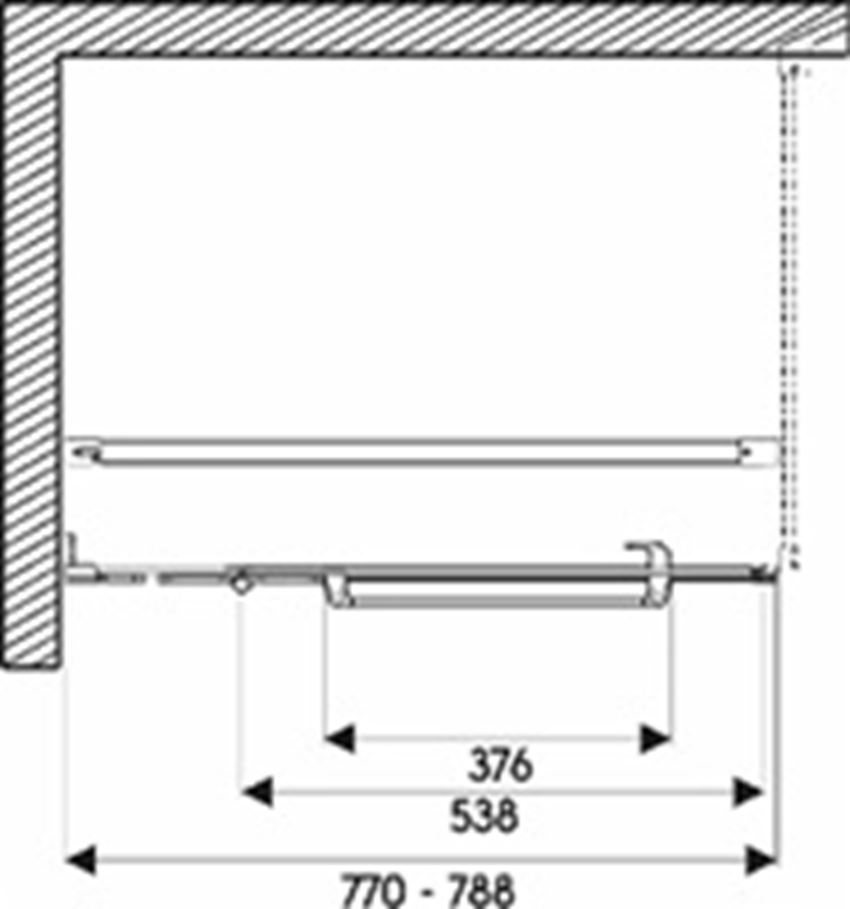 Drzwi skrzydłowe z relingiem do ścianki Next 80 lewostronne Koło Next rysunek techniczny