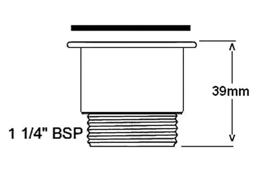 Nakrętka dystansująca do spustów umywalkowych 3,9 cm McAlpine rysunek techniczny