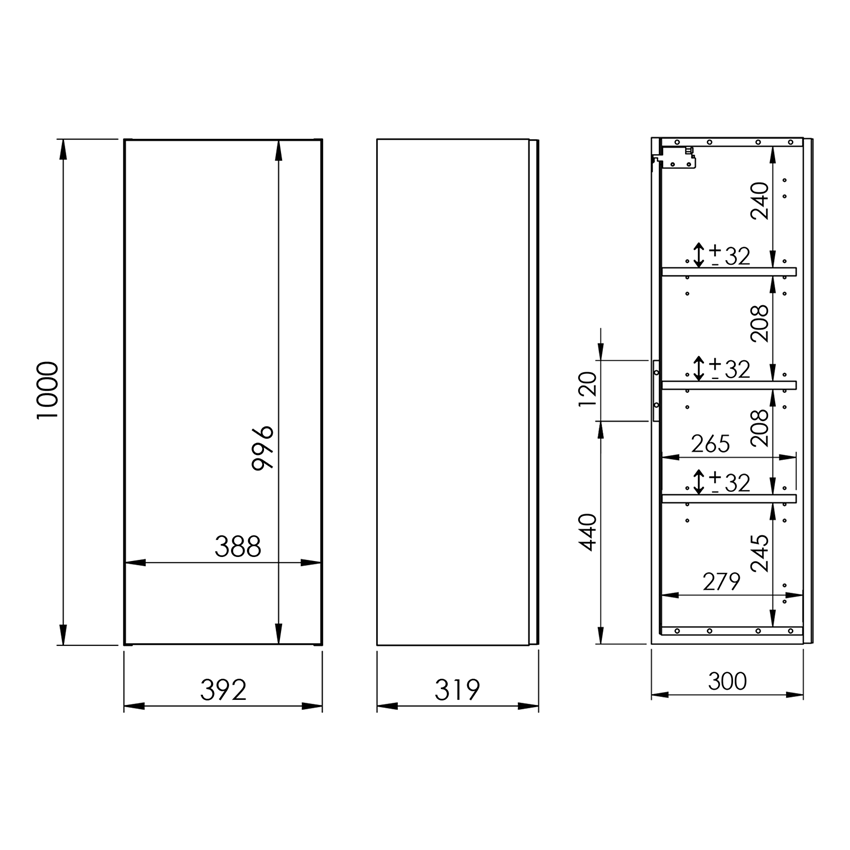 Szafka wisząca z lustrem Modern 40 cm Elita For All 40 1D rysunek