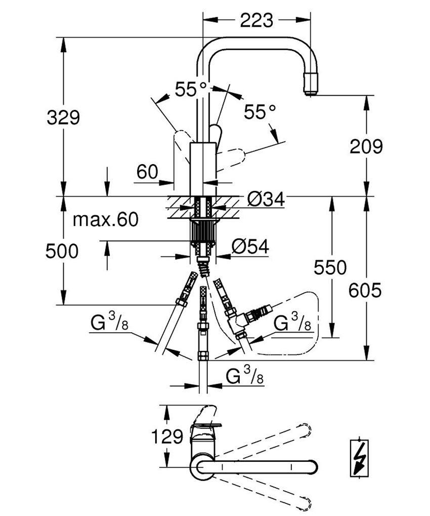 Jednouchwytowa bateria zlewozmywakowa Grohe Eurodisc Cosmopolitan rysunek techniczny