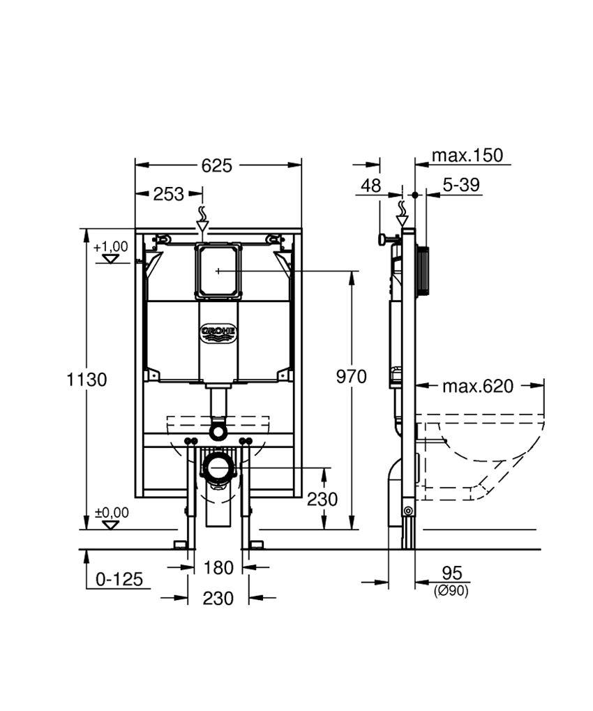 Stelaż slim  Grohe Rapid SL rysunek techniczny