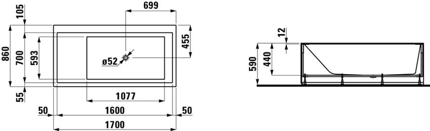 Wanna prostokątna 170x86x44 cm Laufen Kartell rysunek techniczny