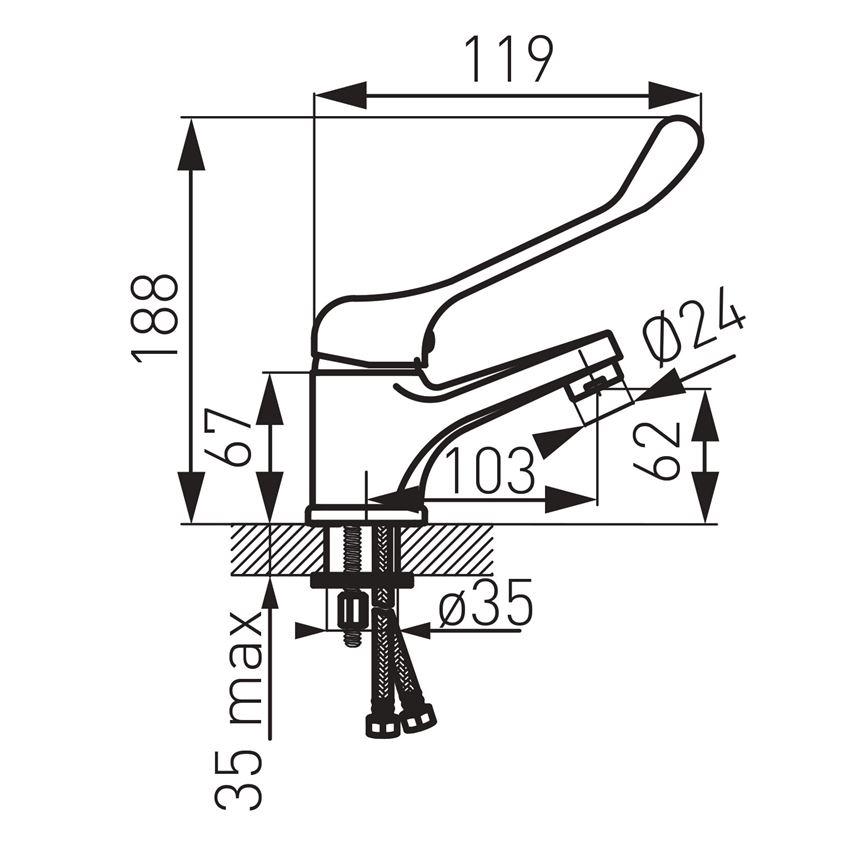 Wymiary baterii umywalkowej stojącej Ferro Vasto Medico BVAM2