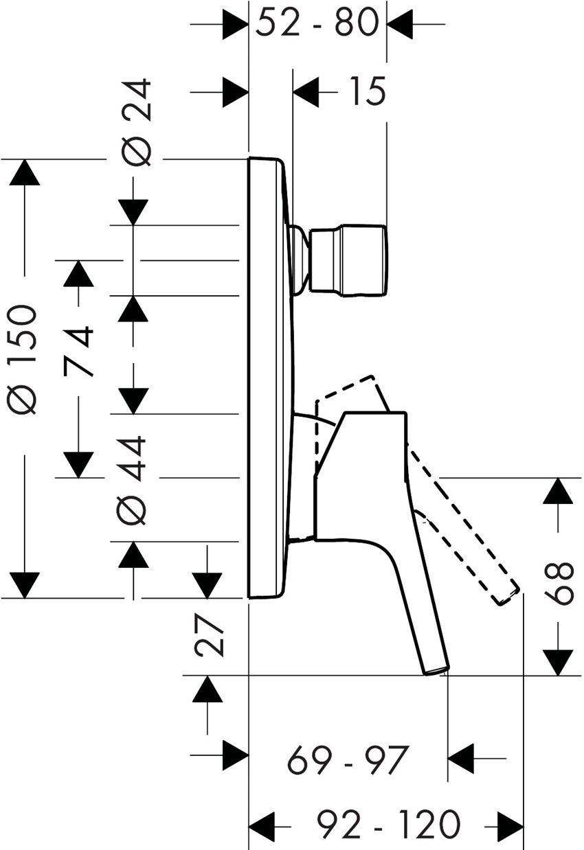 Jednouchwytowa bateria wannowa  montaż podtynkowy element zewnętrzny Hansgrohe Talis S rysunek