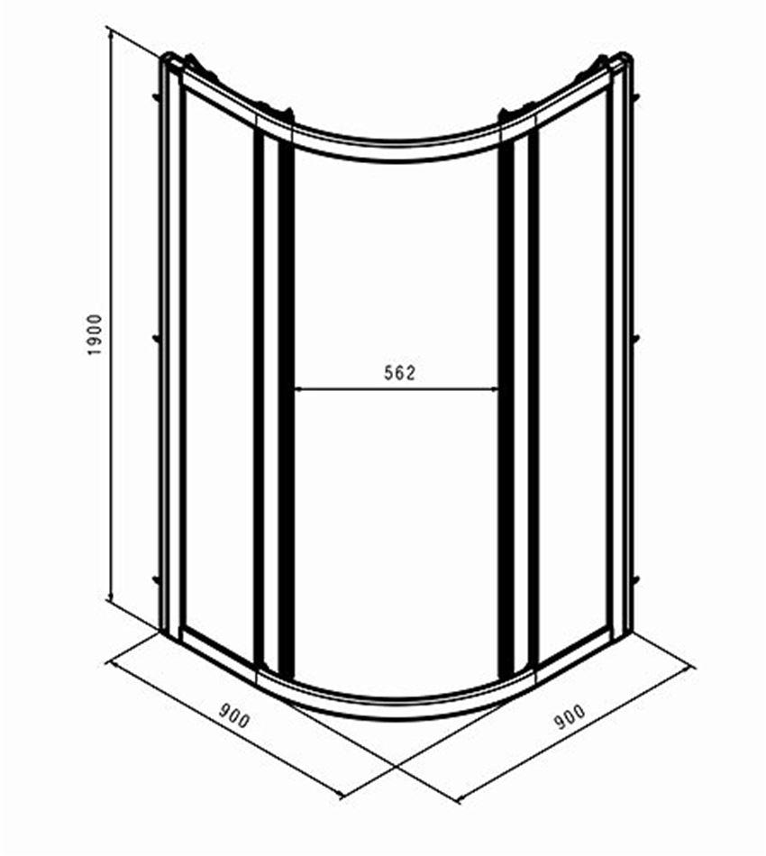 Kabina półokrągła 90 drzwi rozsuwne Koło Geo rysunek techniczny