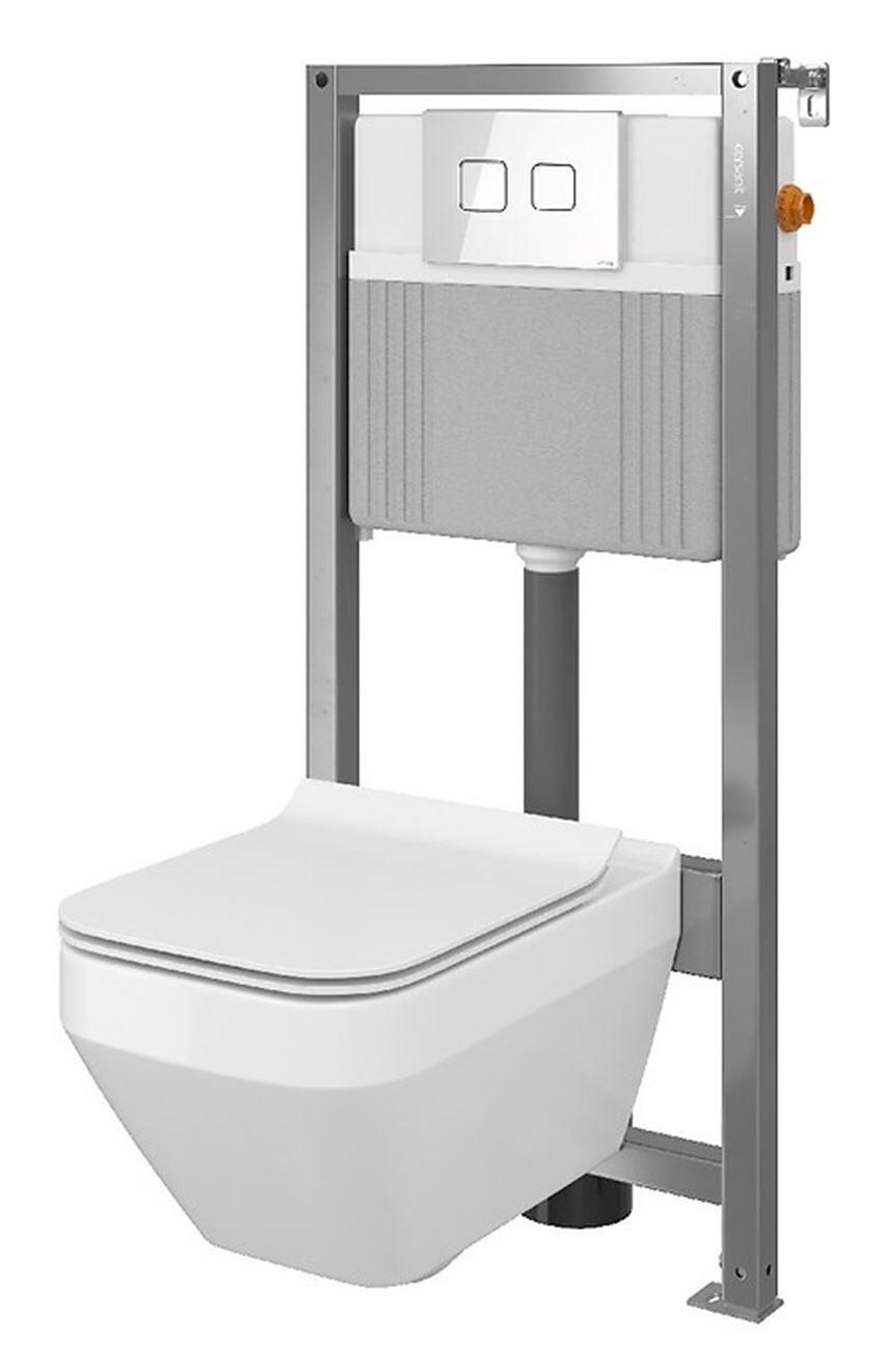 Zestaw stelaż podtynkowy do WC z miską deską i przyciskiem Cersanit Aqua