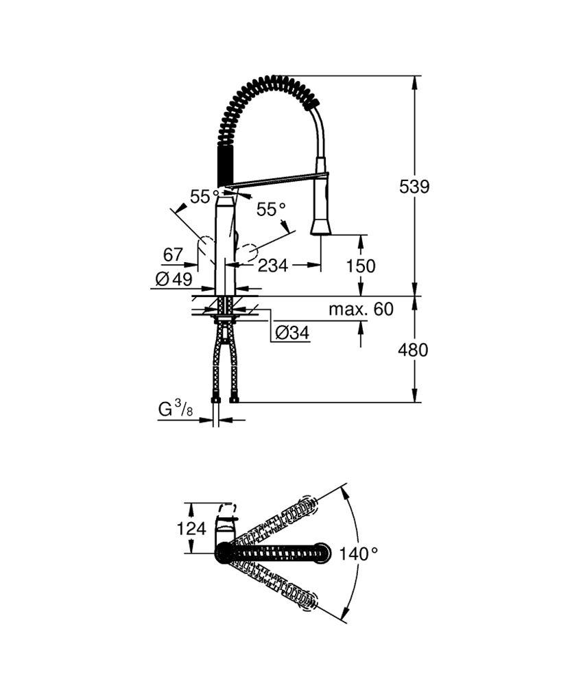 Jednouchwytowa bateria kuchenna 53,9 cm Grohe K7 rysunek techniczny