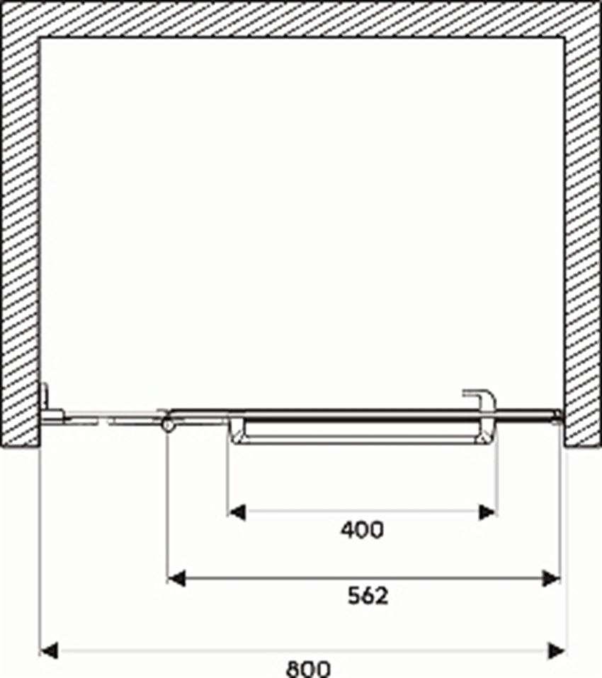 Drzwi lewostronne z relingiem 80x195 cm Koło Next rysunek techniczny
