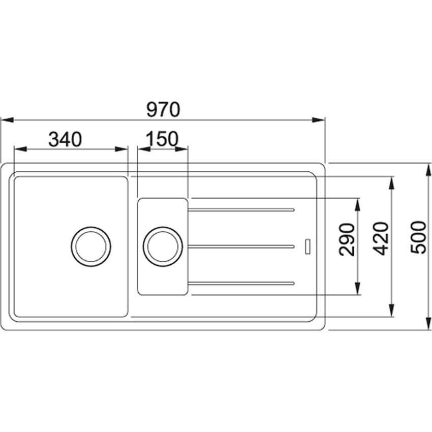 Zlewozmywak 1,5-komorowy z ociekaczem Franke Basis BFG 651 rysunek techniczny