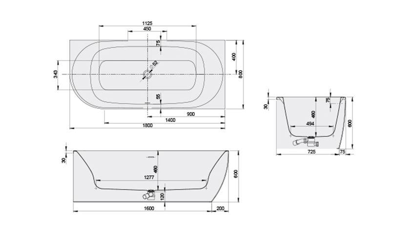 Wanna asymetryczna prawa 80x180 cm Sanplast Loft Line rysunek