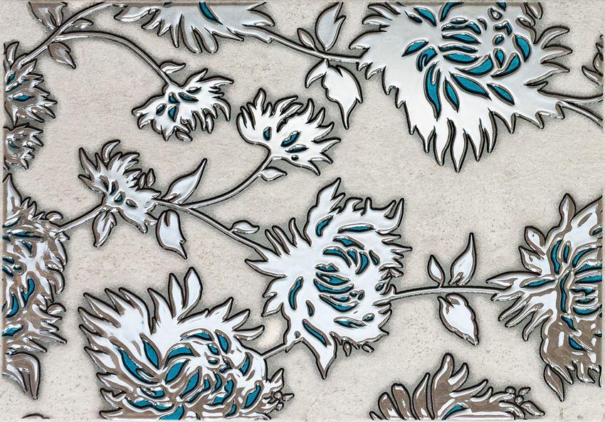 Dekor ścienny 36x25 cm Domino Gris flower turkus
