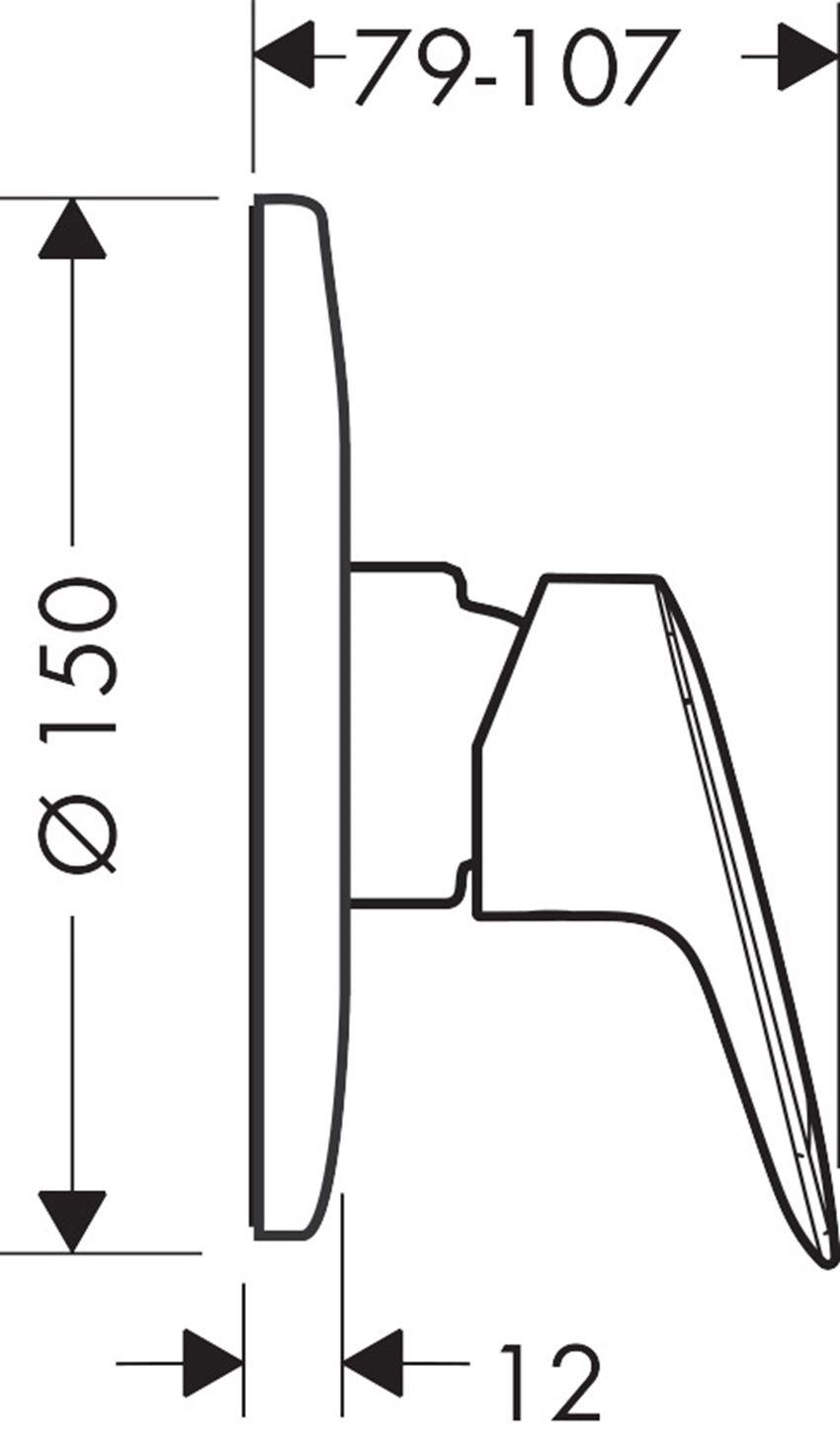 Jednouchwytowa bateria prysznicowa Hansgrohe Logis rysunek techniczny