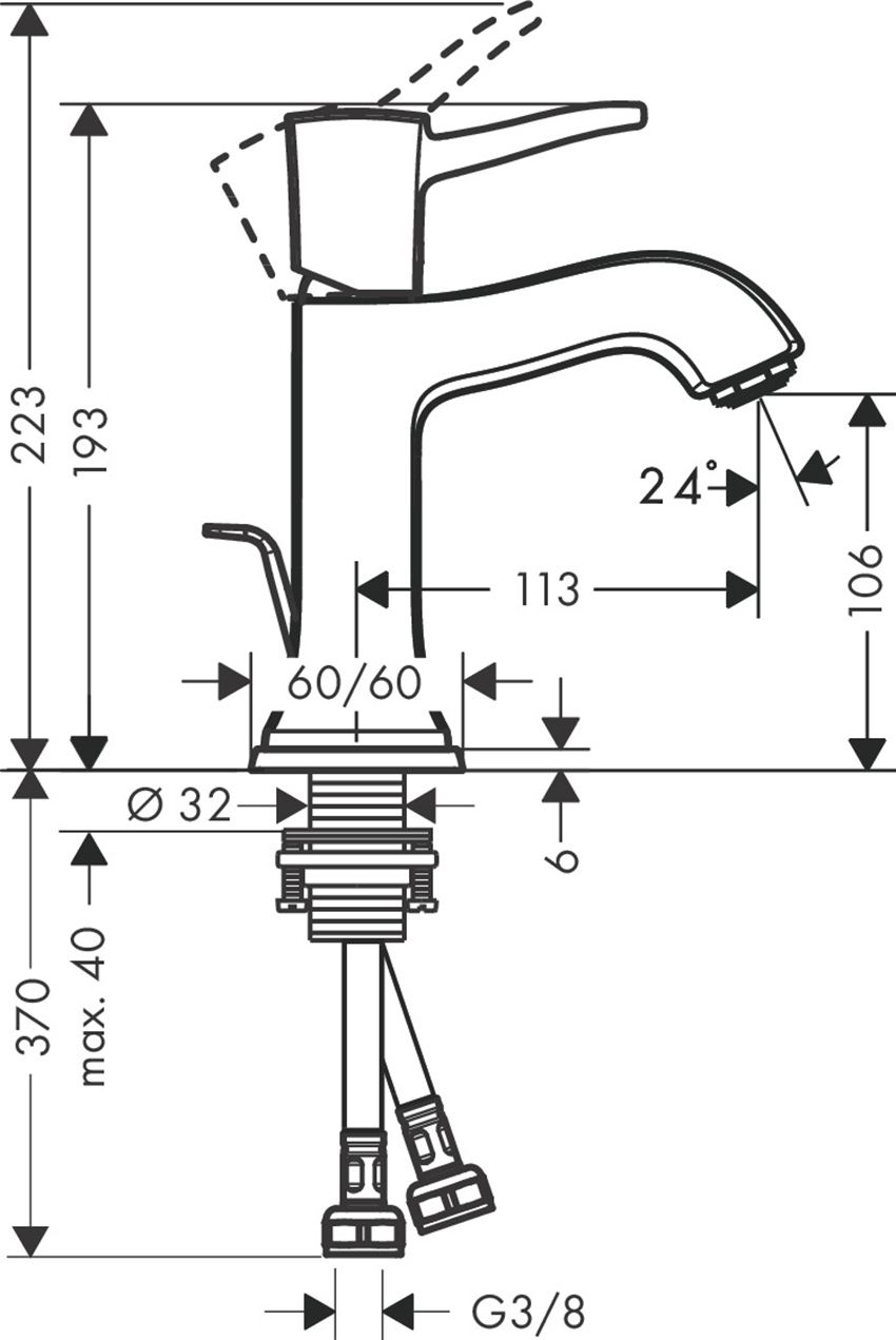 Jednouchwytowa bateria umywalkowa 110 z cięgłem Hansgrohe Metropol Classic rysunek techniczny