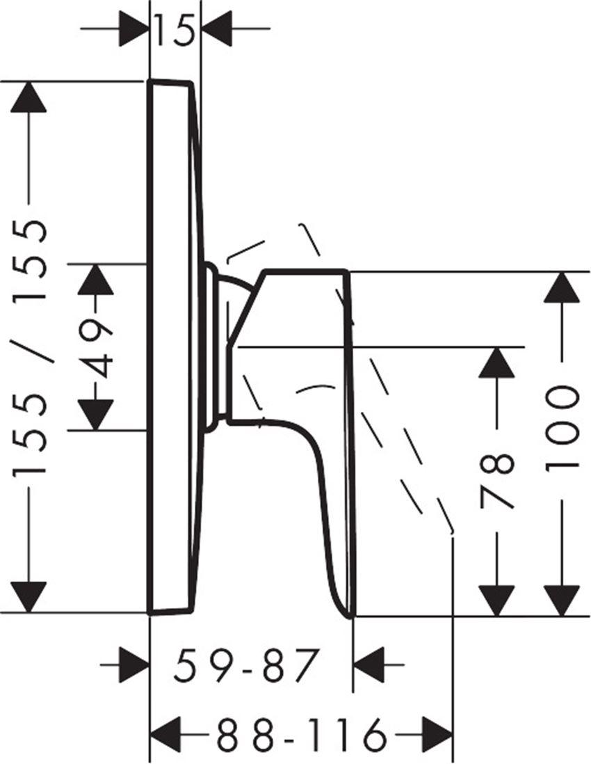 Jednouchwytowa bateria prysznicowa HighFlow Hansgrohe Talis E rysunek techniczny