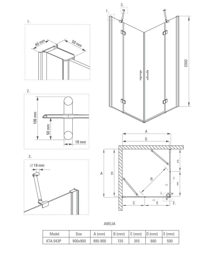 Kabina kwadratowa 90 cm Deante Abelia rysunek techniczny