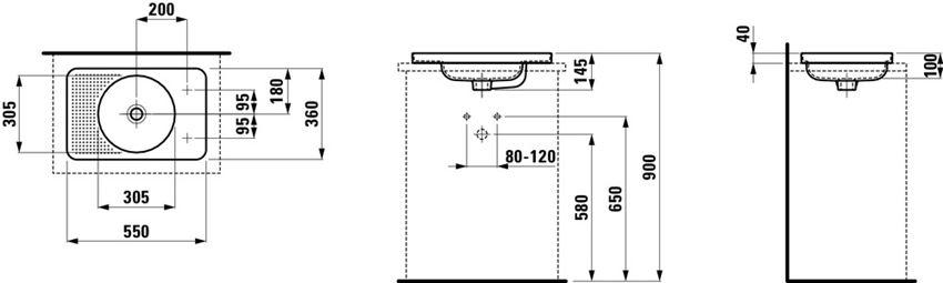Umywalka blatowa 55x36x11,5 cm Laufen Val rysunek techniczny