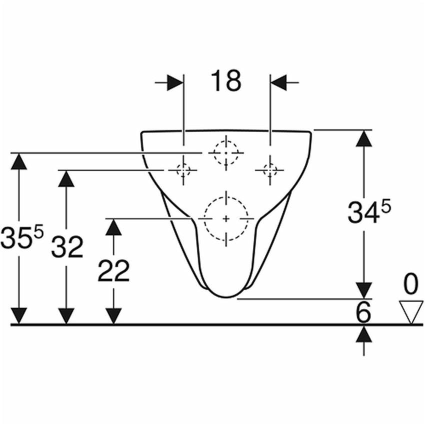 Miska ustępowa prostokątna bez deski 35x43 cm Koło Nova Pro Pico rysunek