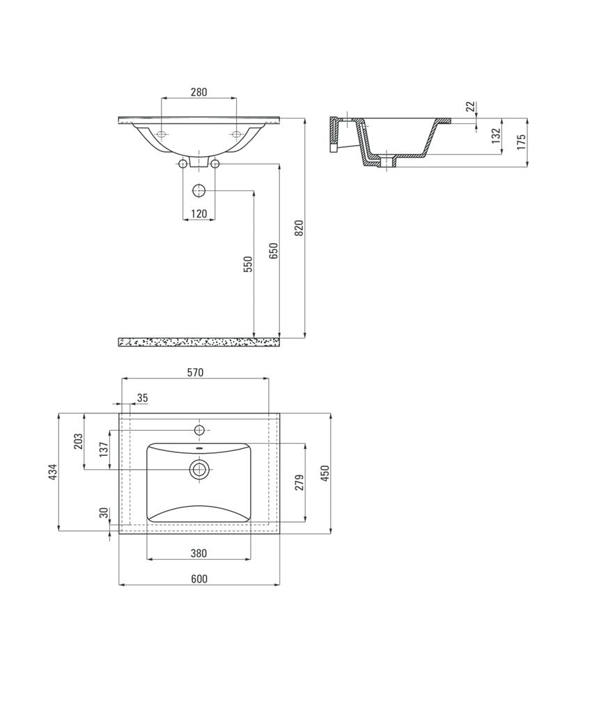Umywalka wpuszczana w blat 60 cm Deante Floks rysunek techniczny
