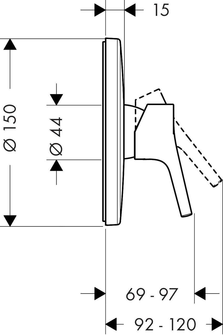 Jednouchwytowa bateria prysznicowa montaż podtynkowy element zewnętrzny Hansgrohe Talis S rysunek