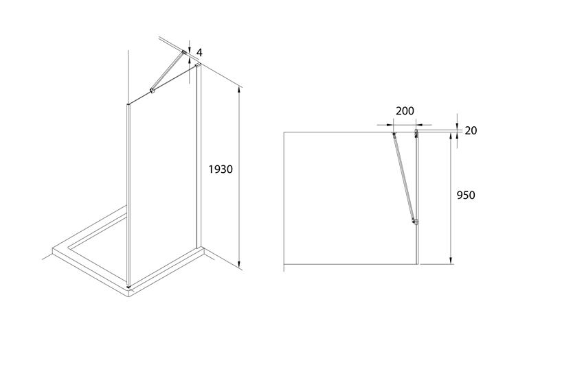 Ścianka boczna z powłoką MaxiClean 100x195 cm Roca Capital rysunek