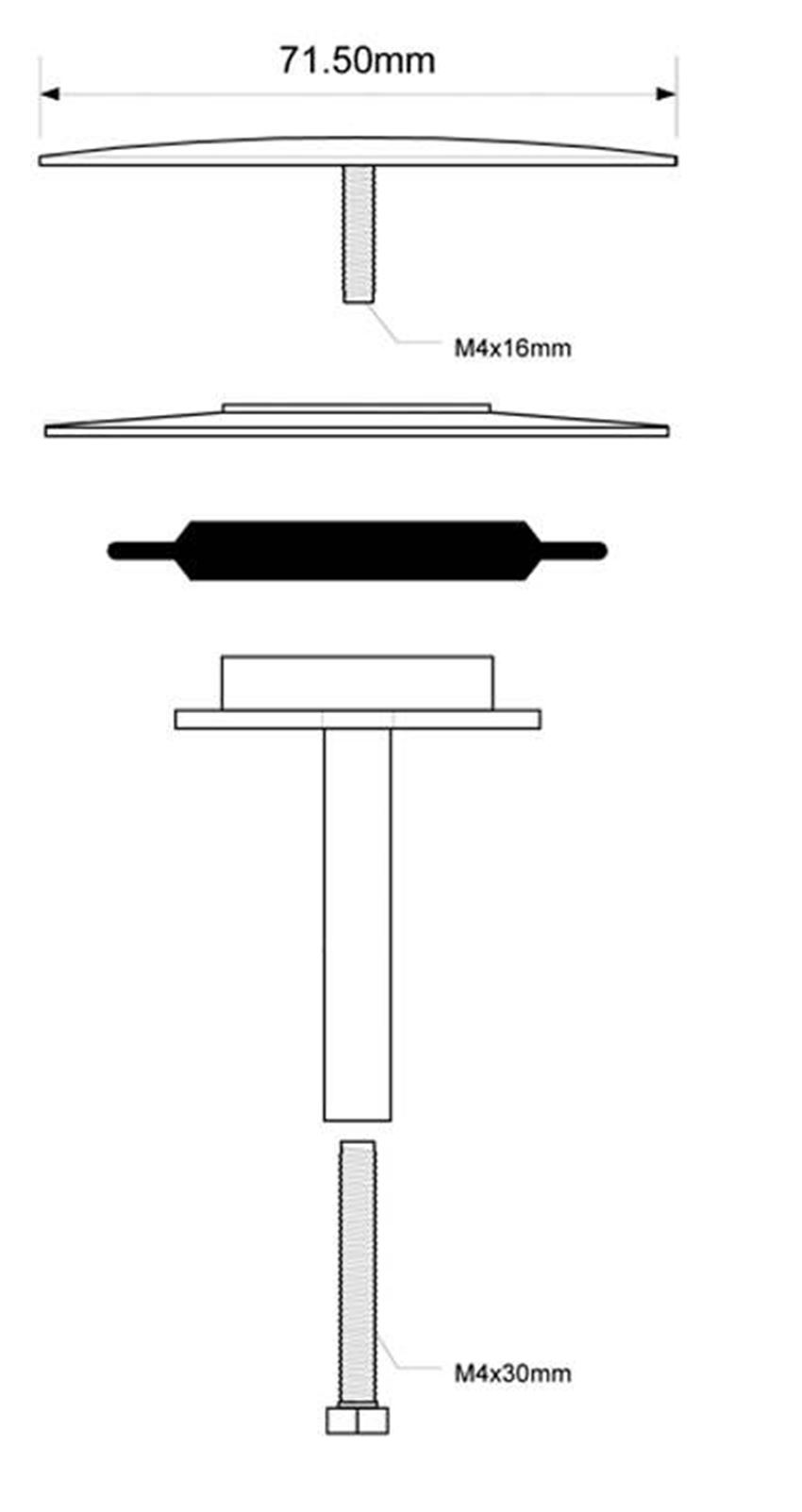 Korek zamykający do zestawu wannowego McAlpine rysunek techniczny