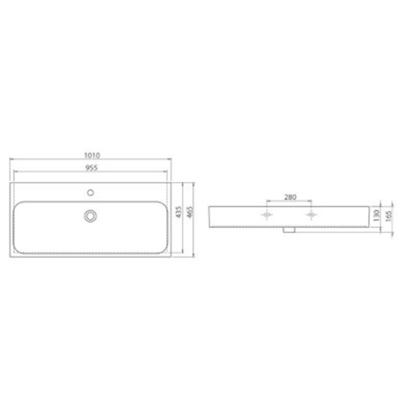 Umywalka CeraStyle Pinto 080300-u rysunek techniczny