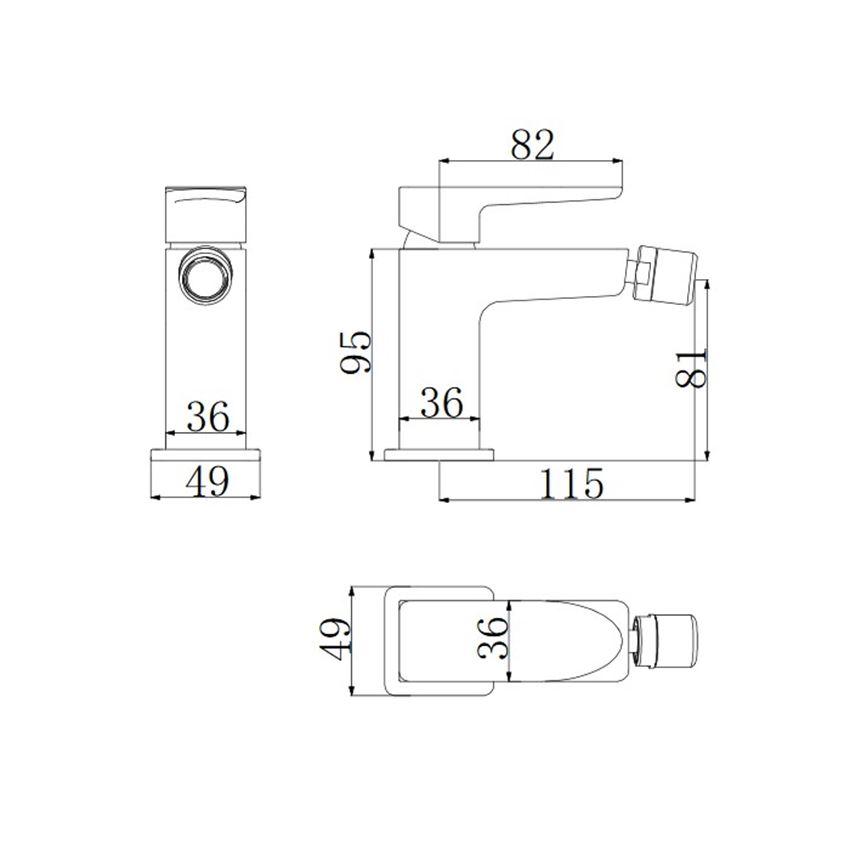 Bateria bidetowa Omnires Siena rysunek techniczny
