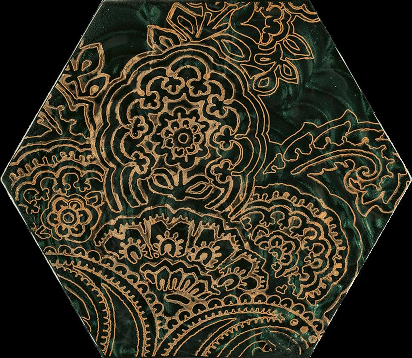 Dekoracja ścienna 17,1x19,8 cm Paradyż Urban Colours Green Inserto Szklane Heksagon B
