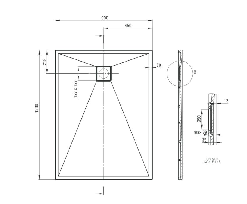 Brodzik prostokątny granitowy 120x90 cm Deante Correo rysunek