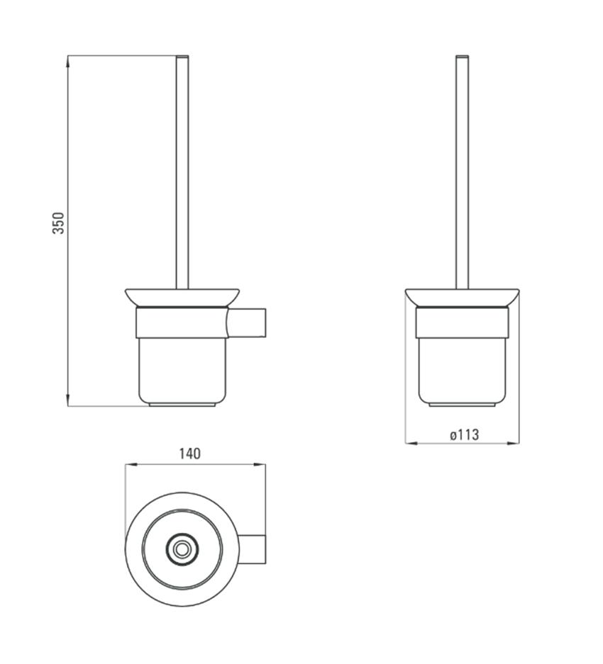 Szczotka wisząca WC z pojemnikiem Deante Round rysunek