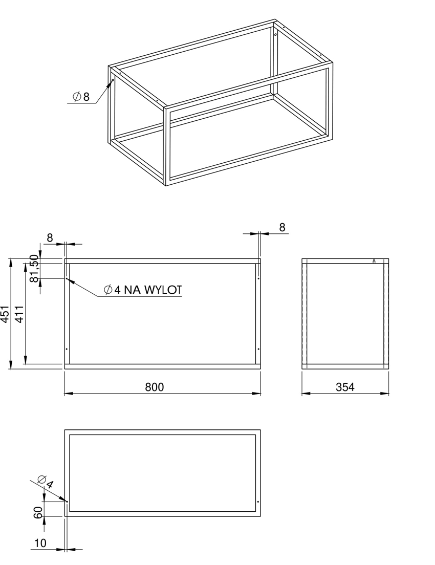 Stelaż podszafkowy z półką szklaną 80 cm Elita Look Black rysunek