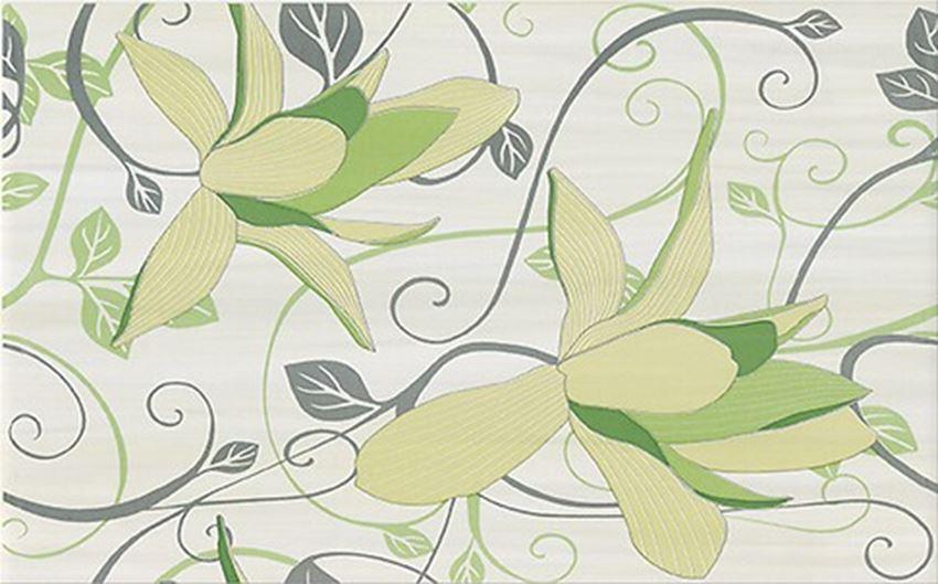 Płytka dekoracyjna 25x40 cm Cersanit Artiga light green inserto flower