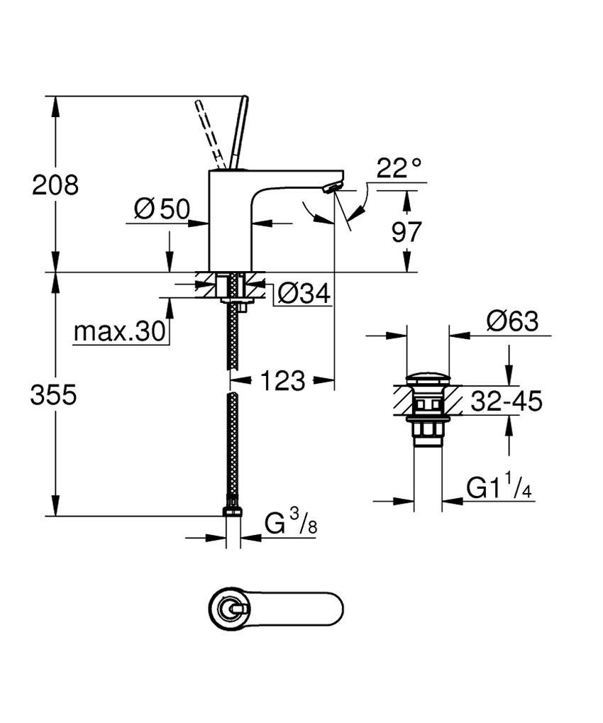 Jednouchwytowa bateria umywalkowa rozmiar M Grohe Get  rysunek techniczny